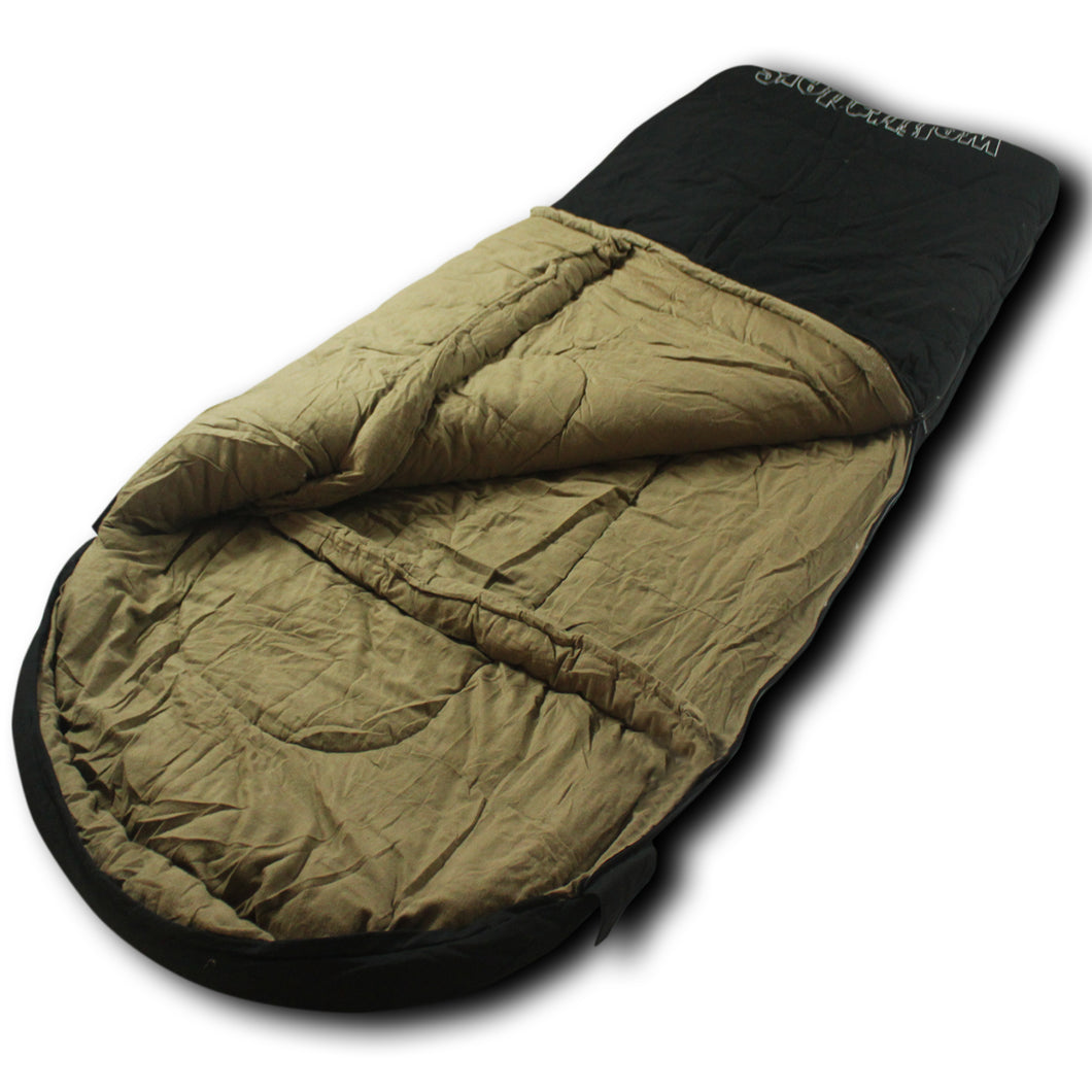 LoneWolf -30 Degree Oversized Premium Canvas Sleeping Bag, Black/Tan