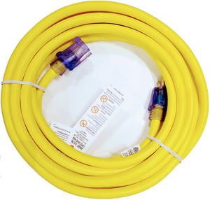 25' 10-Gauge Contractor Grade ETL Listed Lighted End Extension Cord, Yellow
