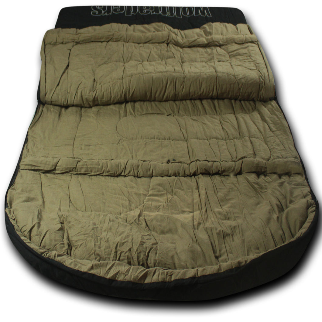TwoWolves 0℉ 2-Person Premium Canvas Sleeping Bag, Black/Tan