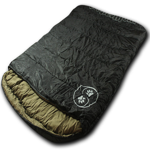 TwoWolves 0℉ 2-Person Premium Comfort Sleeping Bag, Black/Tan