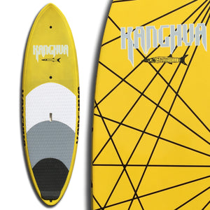 8' Premium Carbon & Innegra Surf SUP Paddleboard with Leash & Fins, Yellow/Natural