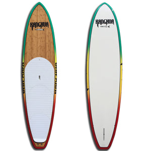 "10'8"" Bamboo Premium All Around SUP Paddleboard with Fins & Leash, Rasta"