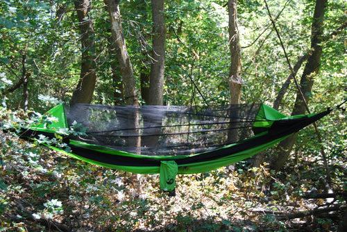 WolfSling Ultra Nylon One Person (1P) Bug Free Lightweight Hammock Green/Black