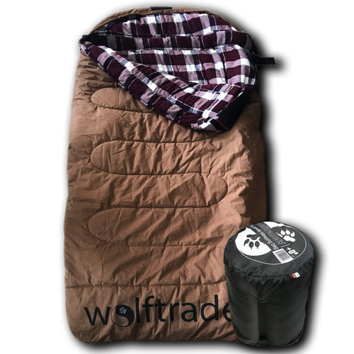LoneWolf 0℉ Oversized Premium Comfort Canvas Sleeping Bag, Brown/Purple