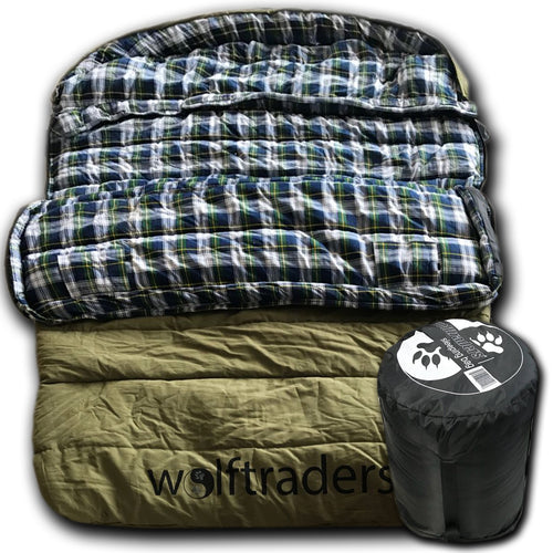TwoWolves -30℉ 2-Person Premium Canvas Sleeping Bag, Green/Blue
