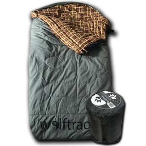 LoneWolf -30 Degree Oversized Premium Canvas Sleeping Bag, Green/Brown