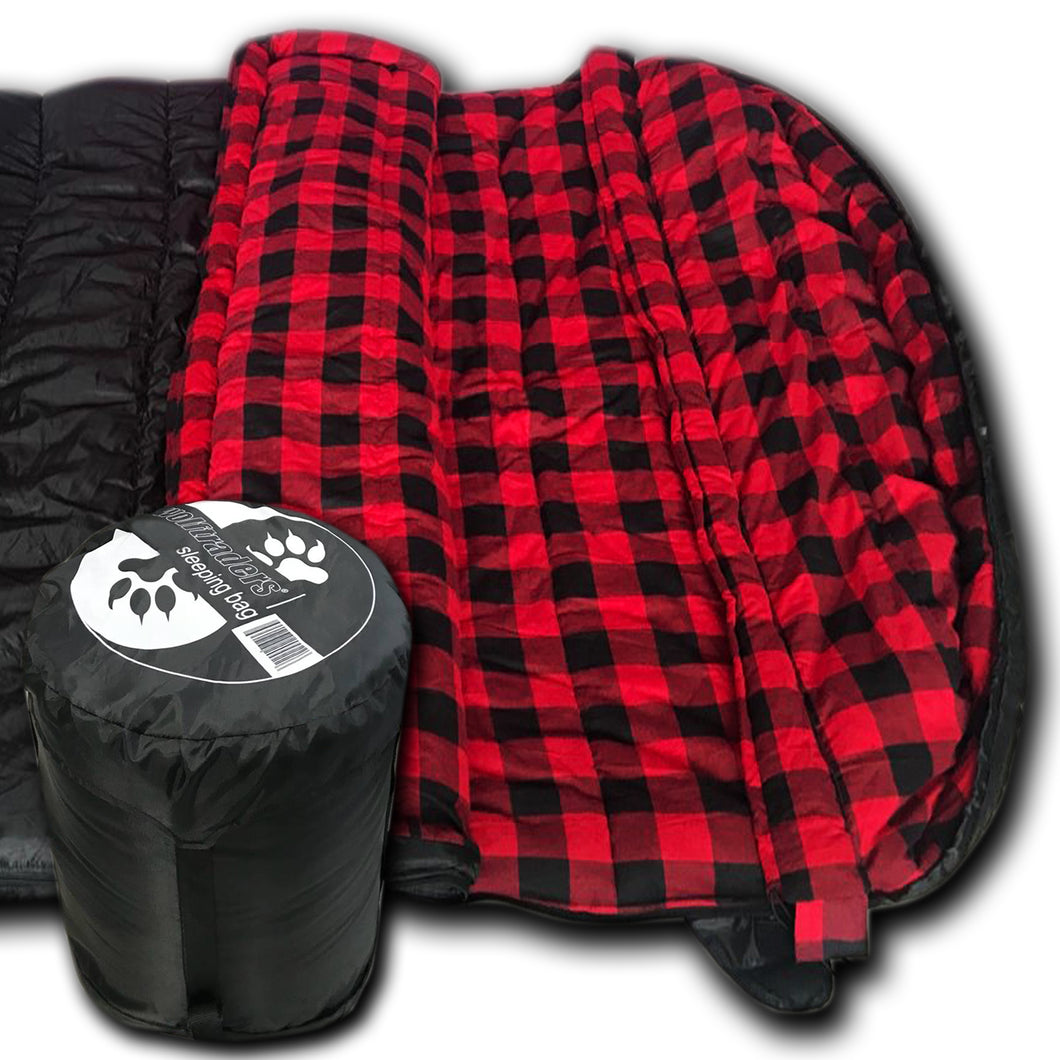 TwoWolves 0℉ 2-Person Premium Comfort Sleeping Bag, Black/Red