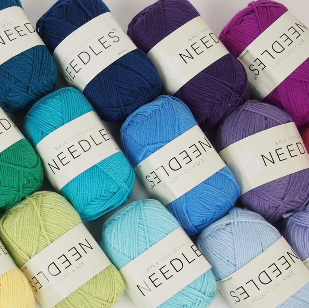 Needles acrylic yarn 8 ply - 100g (74 colours available) - Oz Yarn