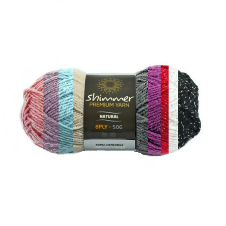 NEW - Shimmer Premium Yarn - 100% acrylic - 50g (12 colours available)