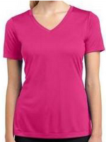 Ladies V-neck Dri-Fit T-shirt with PCE Logo (Available in Hot Coral, Pink Raspberry, True Royal and Black)