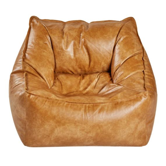 LOUNGE CHAIR FAUX LEATHER CARAMEL