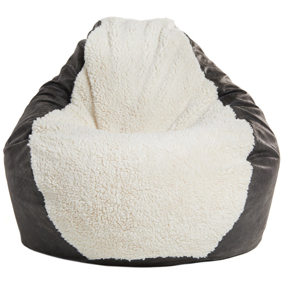 Adult Pear, Ivory Sherpa/Faux Leather Charcoal Beanbag