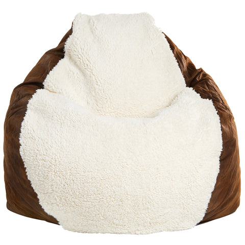 Adult Pear, Ivory Sherpa/Faux Leather Tobacco Beanbag
