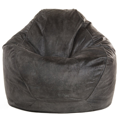 Adult Pear, Faux Leather, Charcoal Solid Beanbag