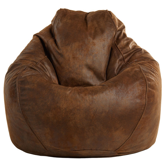 Adult Pear Faux Leather Tobacco Solid Beanbag Chair