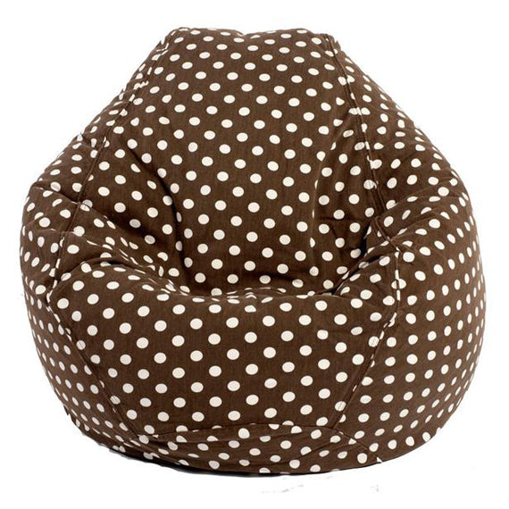Adult Pear, Polka Dot, Brown Beanbag