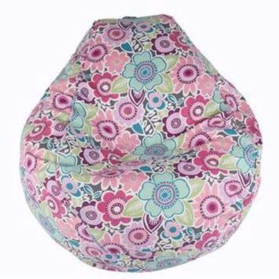 Adult Pear, Twill, Floral Garden, Charcoal/Multi Print Beanbag