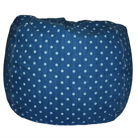 Adult Round, Dottie Denim Beanbag