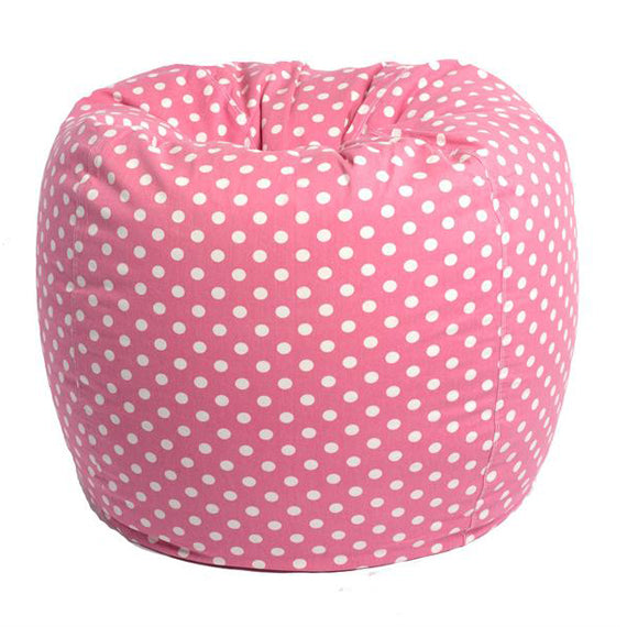 Bean Bag Chairs For Adults Round Polka Dot Pink White