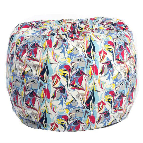 Adult Round, Twill, Marble Print Beanbag
