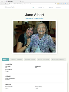 An example image of the MemoryWell story page, including a photo of the subject and family information.
