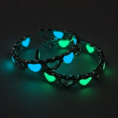 Adjustable Glow In The Dark Ring - Hearts