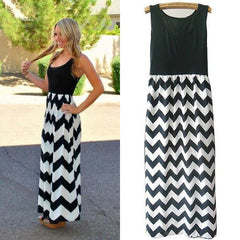 Boho Style Dress - Striped Printed Long Dress - S to XXL