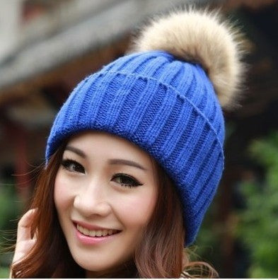 Knitted Faux Fur Tuque With Pom Pom