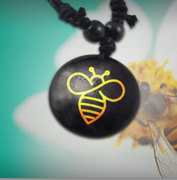 Bee Pendant Necklace - Handmade Rope Necklace - Unisex