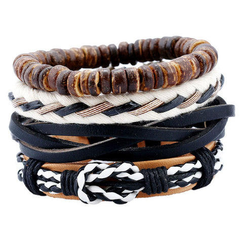 4pcs/set Handmade Rope Leather Bracelet