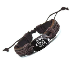 Hand Crafted Animal Series Leather Bracelet - Tiger