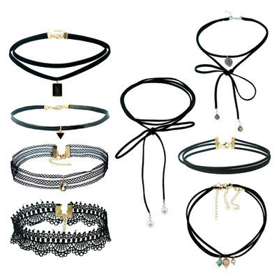Black Velvet Choker Necklace - 10 Piece Set