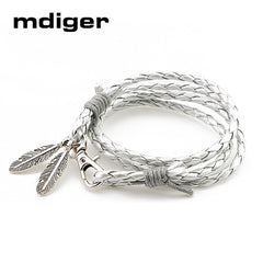Leather Charm Bracelets - Feathers 13