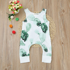 0-24M Newborn Baby Romper Boys Girls Cactus Print Zipper Jumpsuit