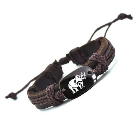 Hand Crafted Animal Series Leather Bracelet - Rhino