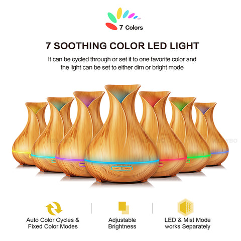 Air Humidifier & Essential Oils Diffuser - 7 Color Changing LED Lights
