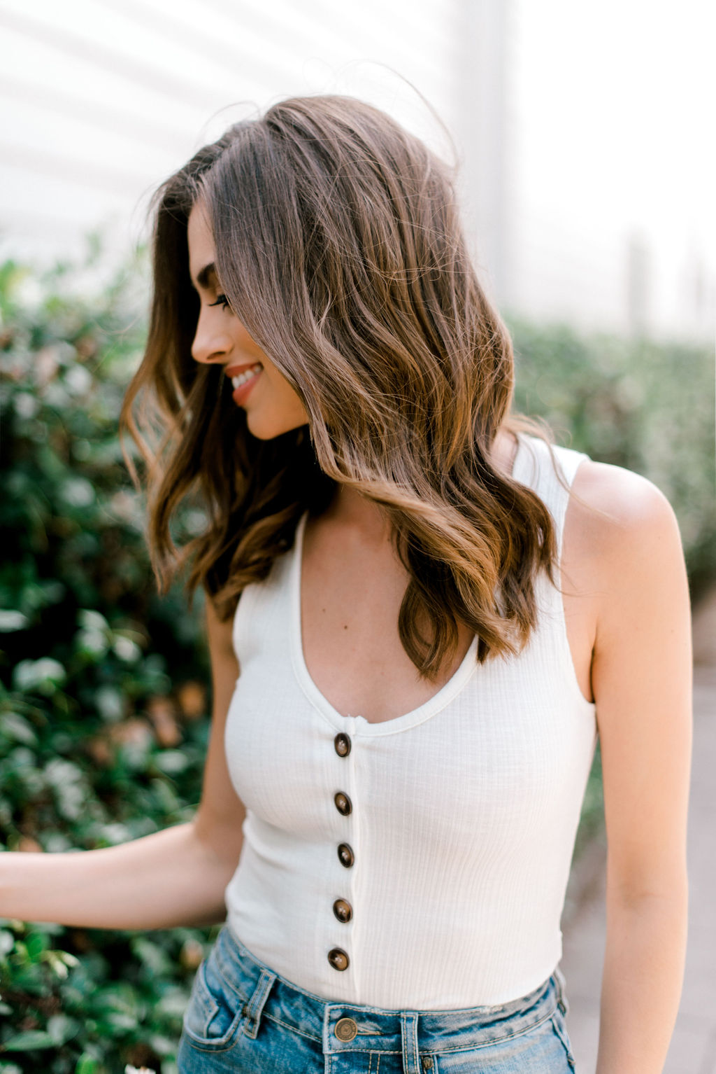 Ivory Button Bodysuit