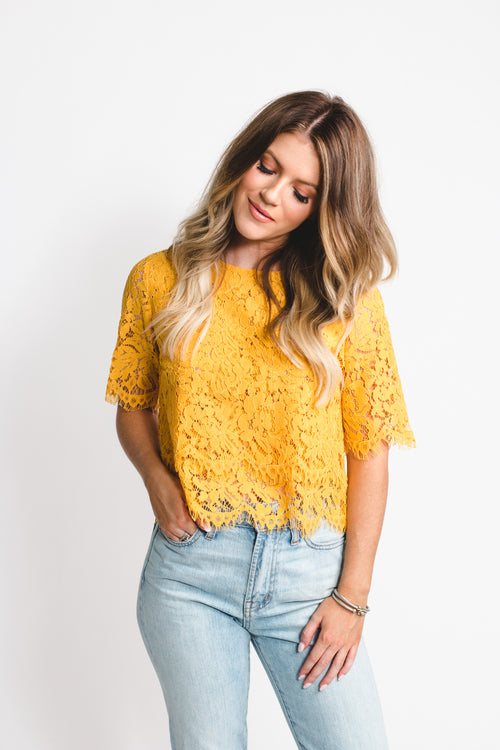 When In Rome Yellow Lace Top