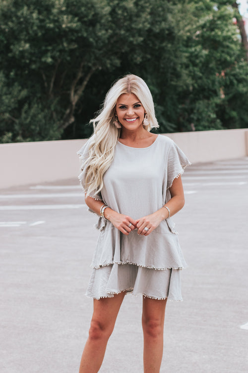 Wallflower Tiered Dress - Grey  *FINAL SALE*