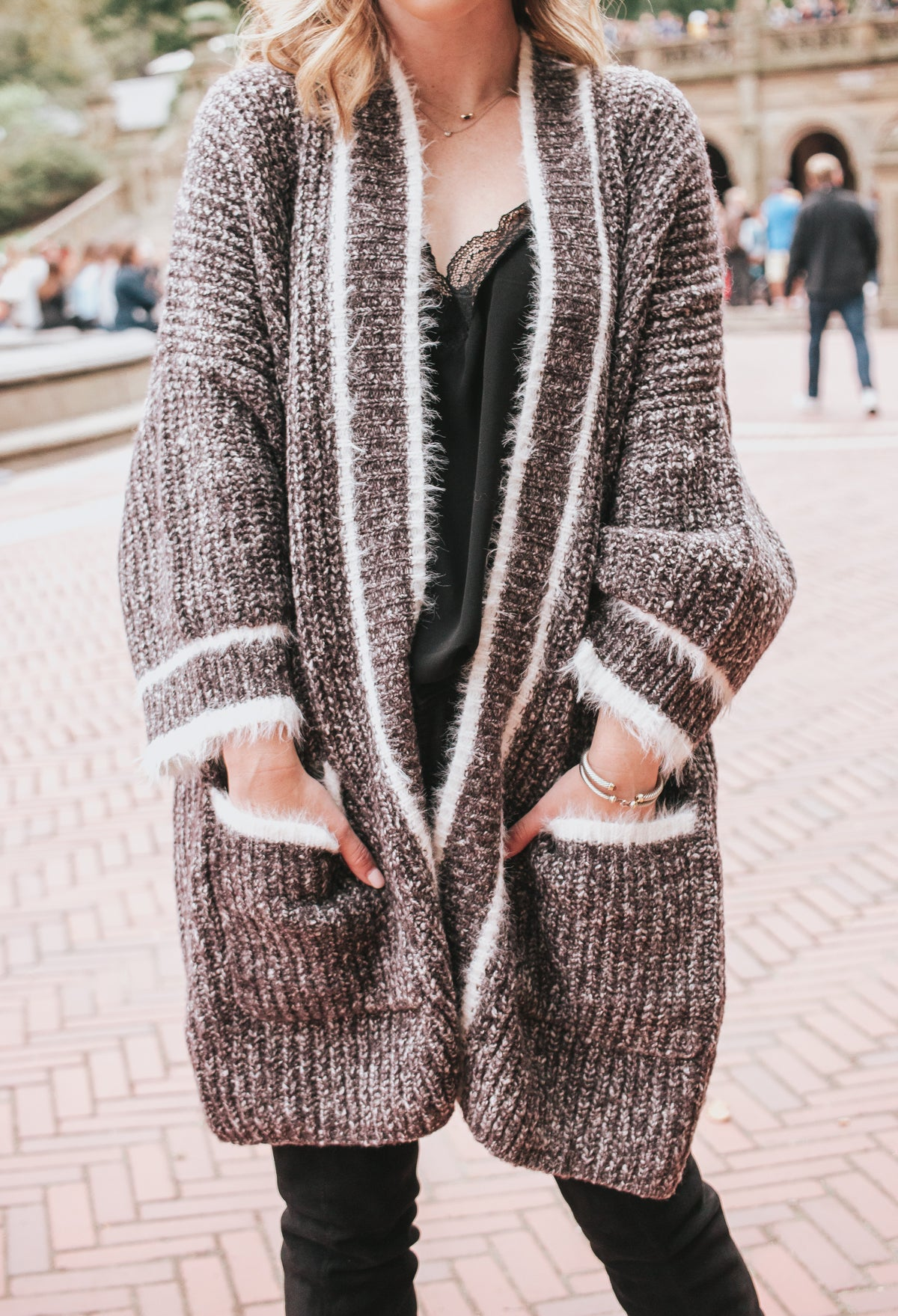 Crazy Over Me Cardigan - Charcoal