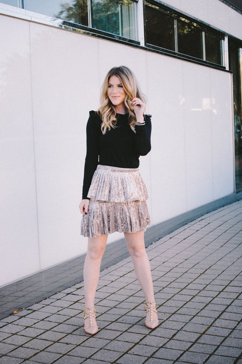 Lola Layered Velvet Pleated Skirt - Taupe Grey