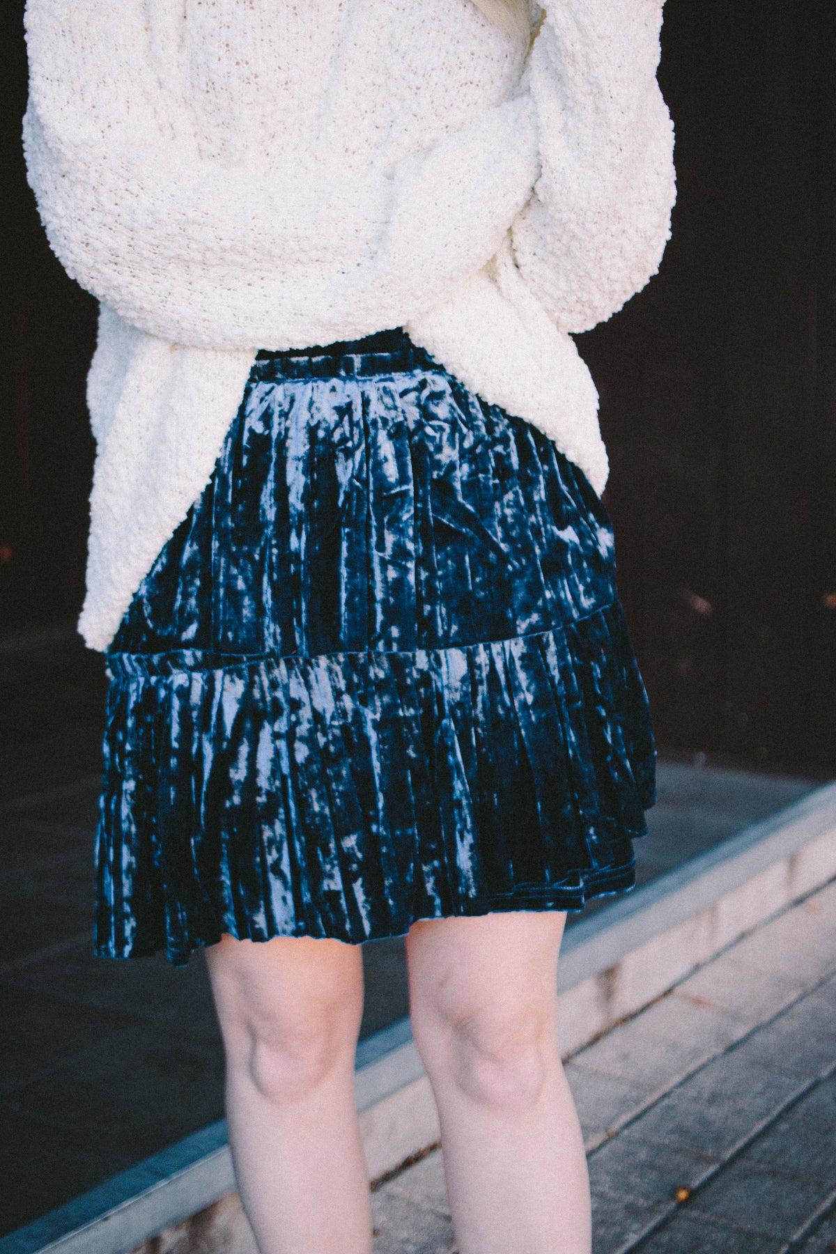 Lola Layered Velvet Pleated Skirt - Navy