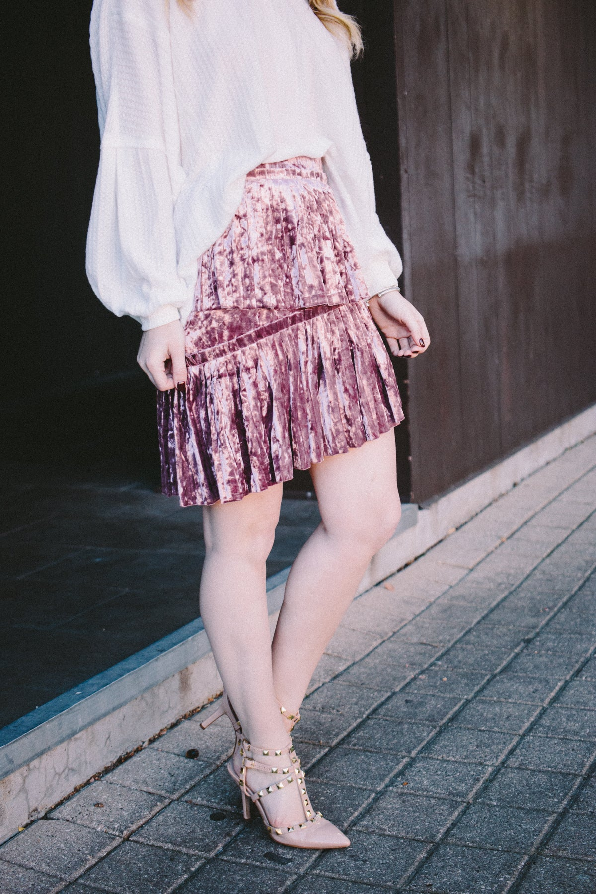 Lola Layered Velvet Pleated Skirt - Mauve