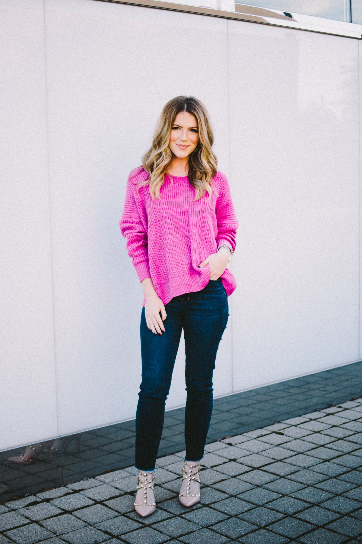 Abby Rose Magenta Open Back Sweater