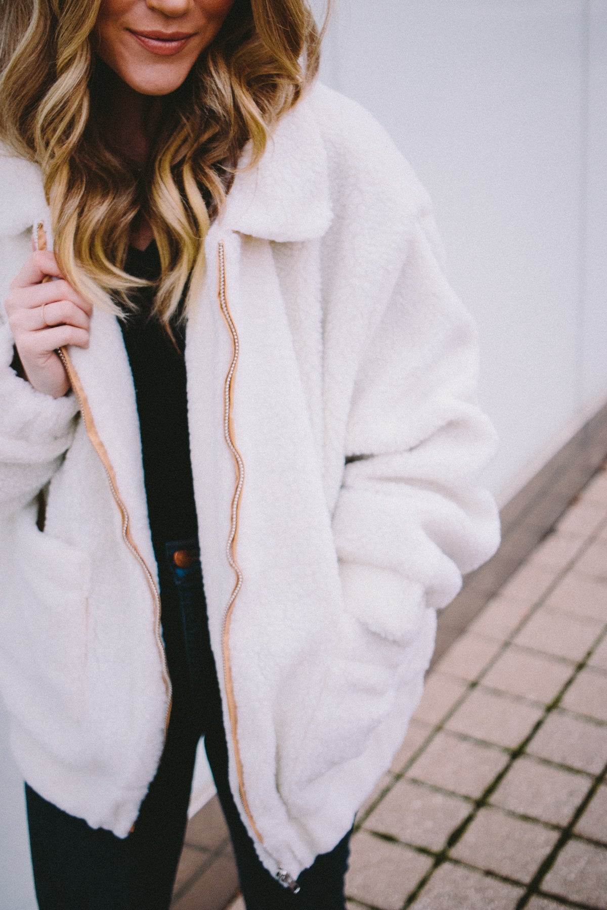 Teddy Bear Bomber Jacket - Cream