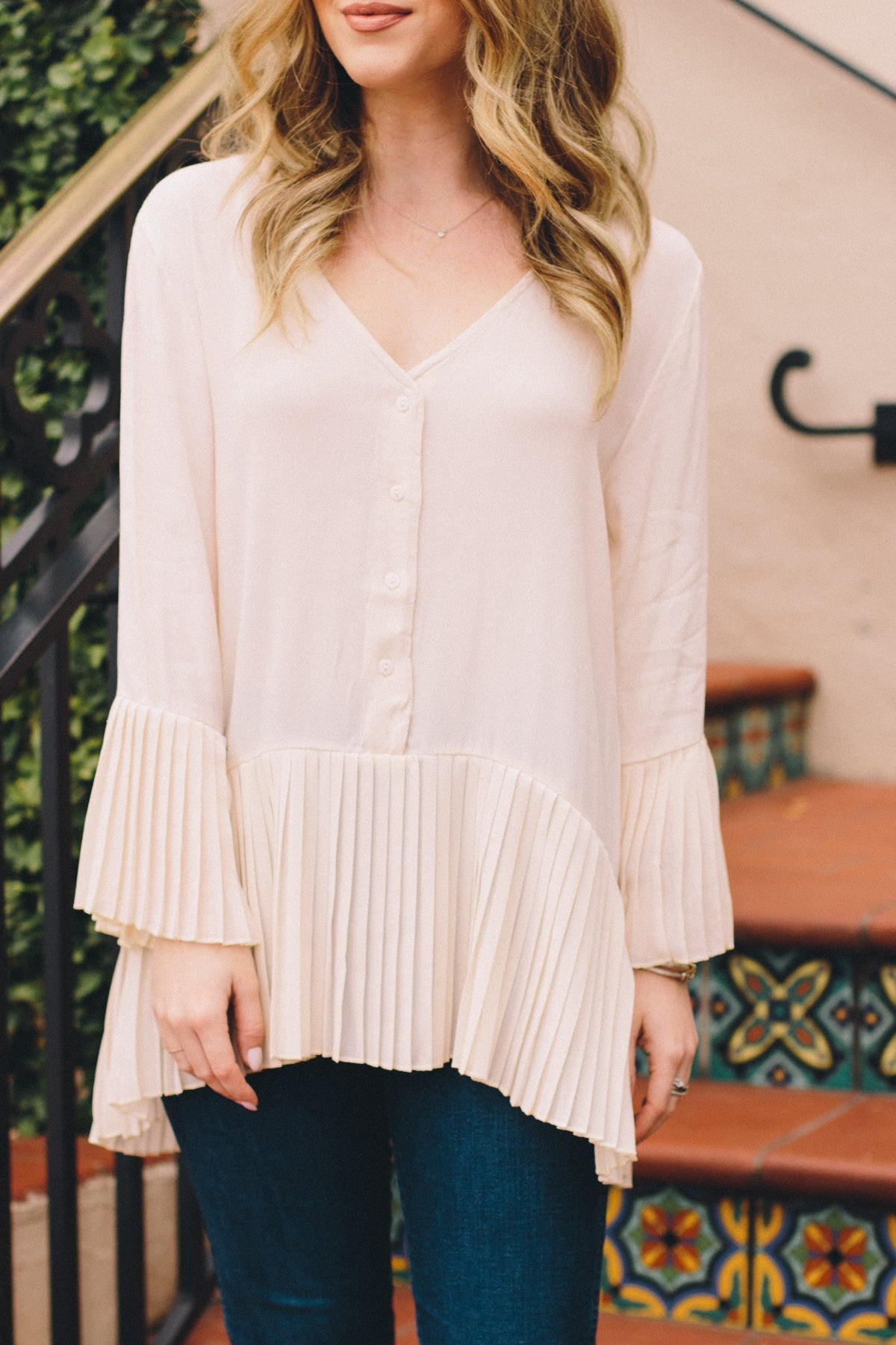 Love on the Weekend Pleated Top