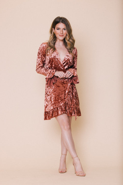 Copper Velvet Wrap Dress