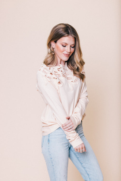 The Feels Laced Shoulder Long Sleeve Top