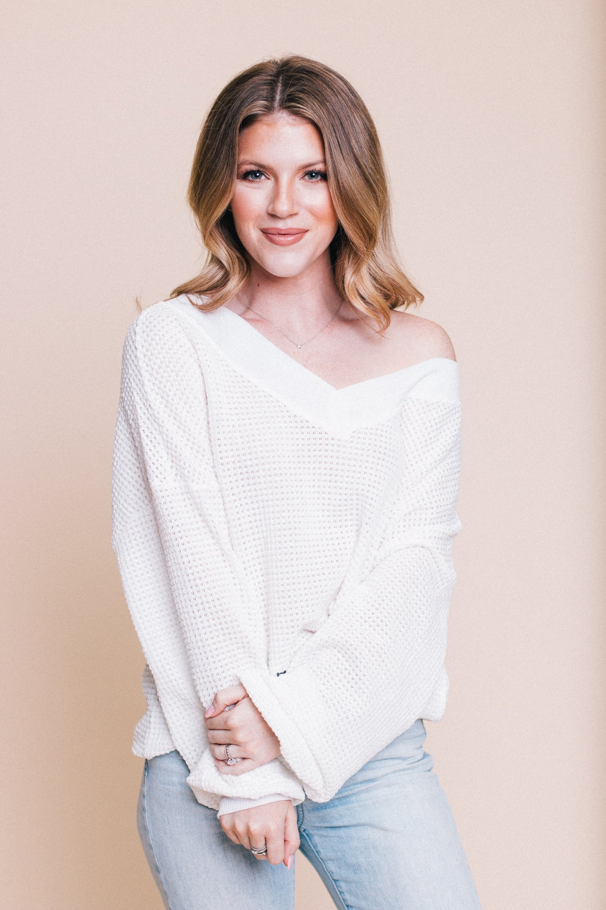 Perfect Love Waffle Top - Ivory