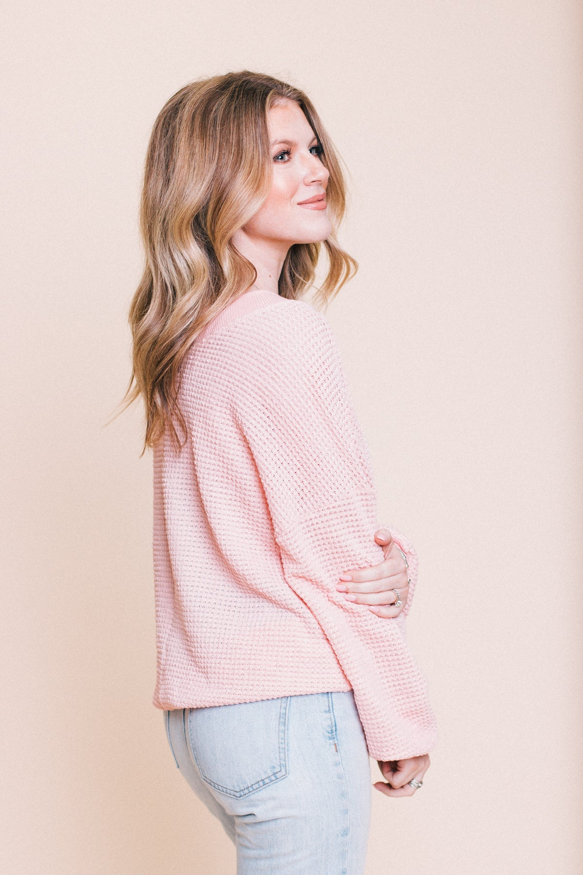 Perfect Love Waffle Top - Blush